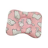 Ортопедическая подушка для новорожденных двухсторонняя Еоты белые на розовом