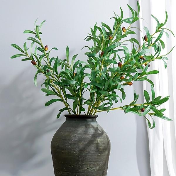 Искусственная ветка оливка  зеленая 88 см