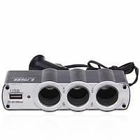 Автомобільний розгалужувач від прикурювача на 3 гнізда WF0120 USBx1, 12/24V, 2А, 60Вт, зарядка від