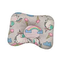 Ортопедическая подушка для новорожденных двухсторонняя Единорожки с радугой