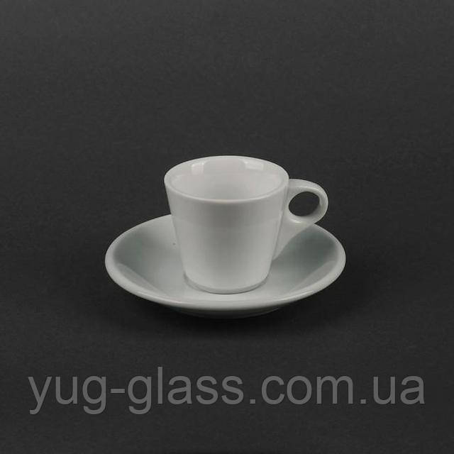 чашка с блюдцем для чая белая