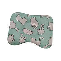 Ортопедическая подушка для новорожденных двухсторонняя Коты белые на мятном