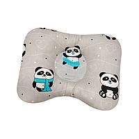 Ортопедическая подушка для новорожденных двухсторонняя Панды с бирюзовым шарфом