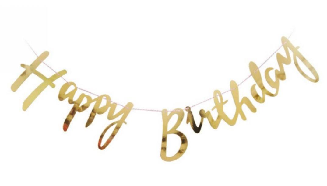 Гирлянда-растяжка Happy Birthday 2 м., Золото