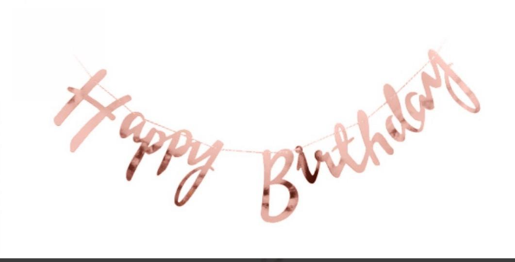 Гирлянда-растяжка Happy Birthday 2 м., Розовое золото