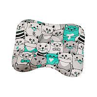 Ортопедическая подушка для новорожденных двухсторонняя Коты мятные и серые