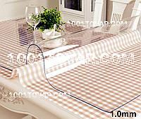 Скатерть (клеёнка) для стола Мягкое стекло прозрачное 100х100 см., плотность 1 мм. на МЕТРАЖ