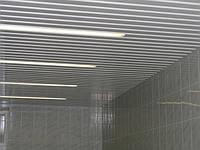 Реечный потолок: металлик с белыми вставками, любые размеры