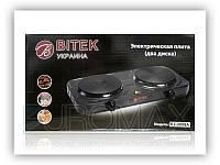 Электрическая плита на 2 диска BITEK BT-9088A 2000Вт, 155мм, 220V, эмаль, плиты настольные, электроплита BITEK