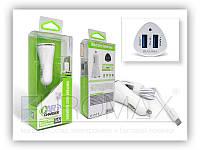 Автомобільний зарядний пристрій BAVIN PC668-V8 2,4 А, 2USB, кабель USB-microUSB, АЗУ, автозарядное BAVIN