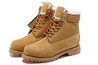 Ботинки мужские  Classic Timberland 6 inch Yellow Winter Edition (тимберленд) на меху коричневые