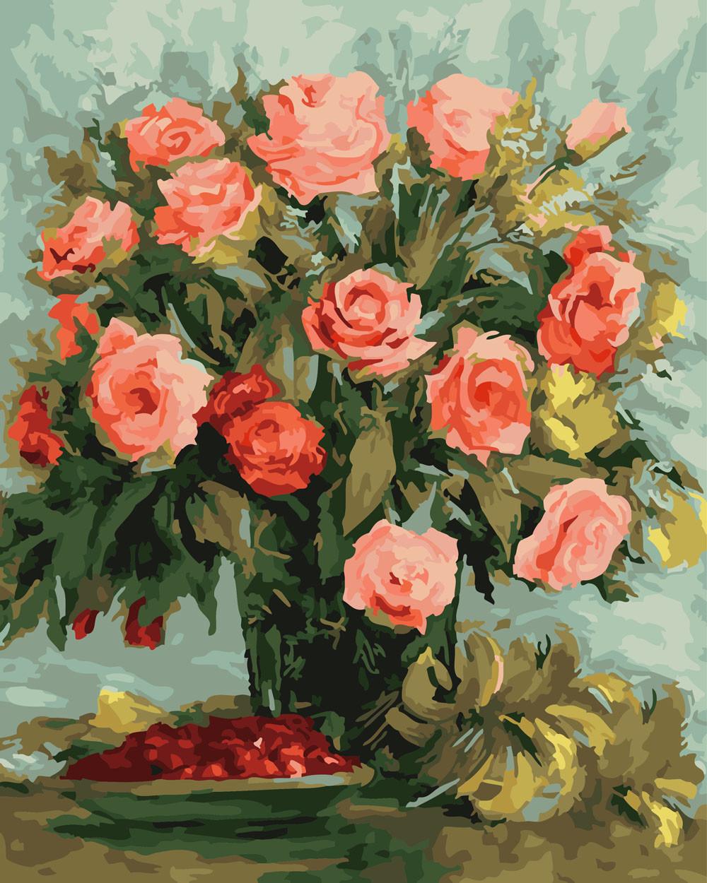 Картина за Номерами Ніжні троянди 40х50см RainbowArt