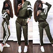 Костюм жіночий з білими лампасами штани і кофта з шовку, фото 3