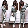 Костюм жіночий з білими лампасами штани і кофта з шовку, фото 4