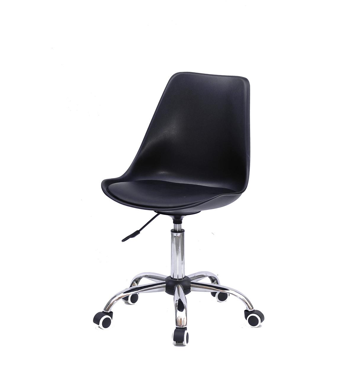 Офисное черное кресло на колесиках, поворотное из цельнолитого пластика с мягким сиденьем Albert Office