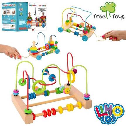 Дерев`яна іграшка лабіринт.на проволоці MD 1241 пірамід-ключ 3в в кор 18-24-24см, фото 2