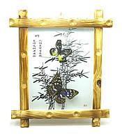 Бабочки в деревянной рамке на фоне 34х29х4см (25978)