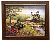Бабочки в рамке на фоне 2шт 28х23х2,5см (26044)