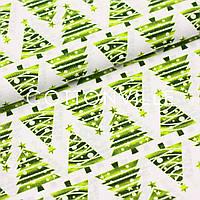 Бавовняна тканина Ялинки салатові