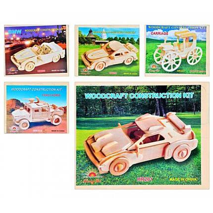 Деревянная игрушка Пазлы 3D MD 0472 4 вида (машины) 23-18 5см, фото 2