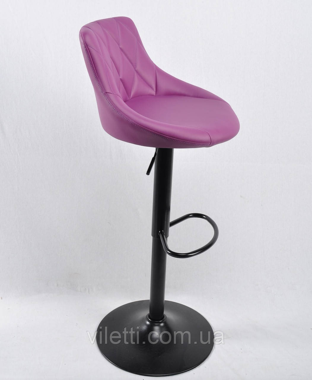 Пурпурний барний стілець c підставкою для ніг з еко-шкіри на круглому підставі чорного кольору FORO BAR BK-BASE