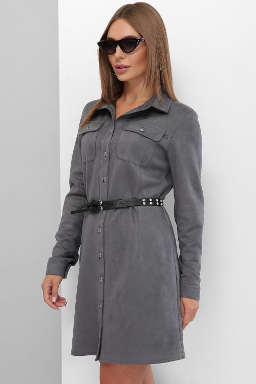 Модное платье из эко-замши на пуговицах с карманами на груди графит 46