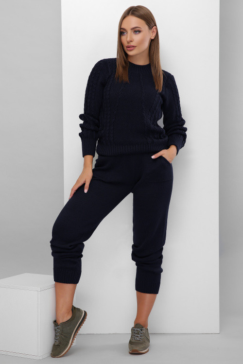 Легкий женский вязаный костюм, состоящий из брюк и свитера темно-синий 42-46