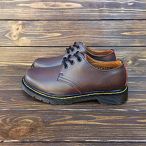 Женские кожаные полуботинки/туфли в стиле Dr. Martens 1461 Brown, фото 2