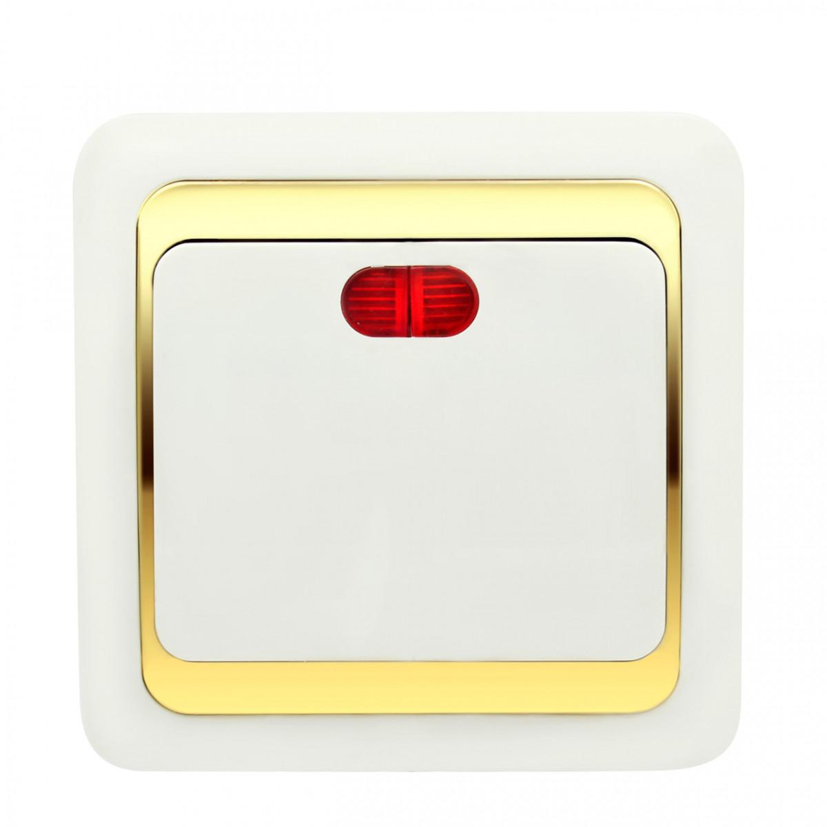 Выключатель Wega одинарный с подсветкой золото
