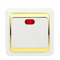 Выключатель Wega одинарный с подсветкой золото, фото 1