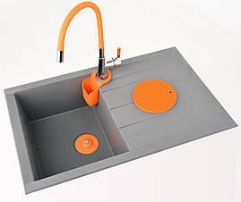 Пробка в раковину силиконовая с сетчатым фильтром оранжевая Fala 74783, фото 3