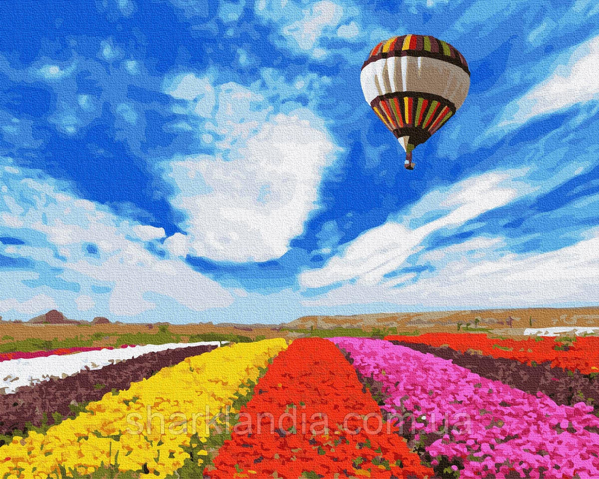 Картина по номерам Полёт над тюльпанами 40х50см RainbowArt Воздушные шары пейзаж природа цветы