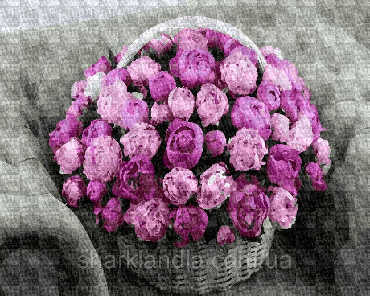 Картина за номерами Букет на кріслі 40х50см RainbowArt Квіти Букет Кошик