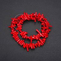 Бусины на леске Коралл Красный столбик d-3х10(+-)мм L-38см купить оптом в интернет магазине