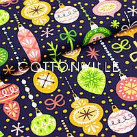 Хлопковая ткань Разноцветные елочные игрушки