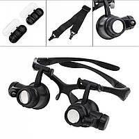 Бинокуляр очки бинокулярные 10X/15X/20X/25X со светодиодной подсветкой 9892G, фото 1