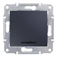 Одноклавишный проходной переключатель с синей подсветкой Графит Sedna SDN1500170
