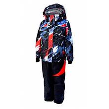 Комбинезон зимний раздельный для мальчика (черный с принтом) (размеры от 80 до 170)  Код 4105