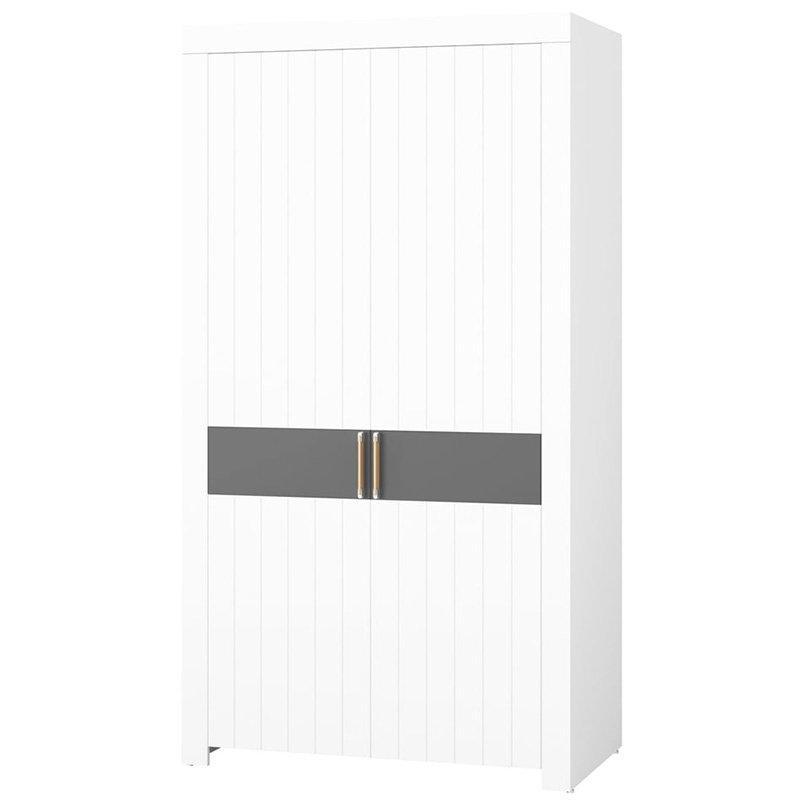 Шкаф двухдверный платяной PICOLO 03 Szynaka белый/серый