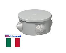 Коробка распределительная IP44 80x40 Elettrocanali EC400C2 (навесная, защелки, 4 сальника 20мм)