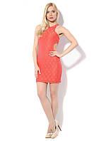Летнее женское оранжевое платье гипюр с вырезами по бокам