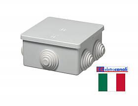 Коробка распределительная IP44 80x80x40 Elettrocanali EC400C3 (навесная, защелки, 6 сальников 20мм)