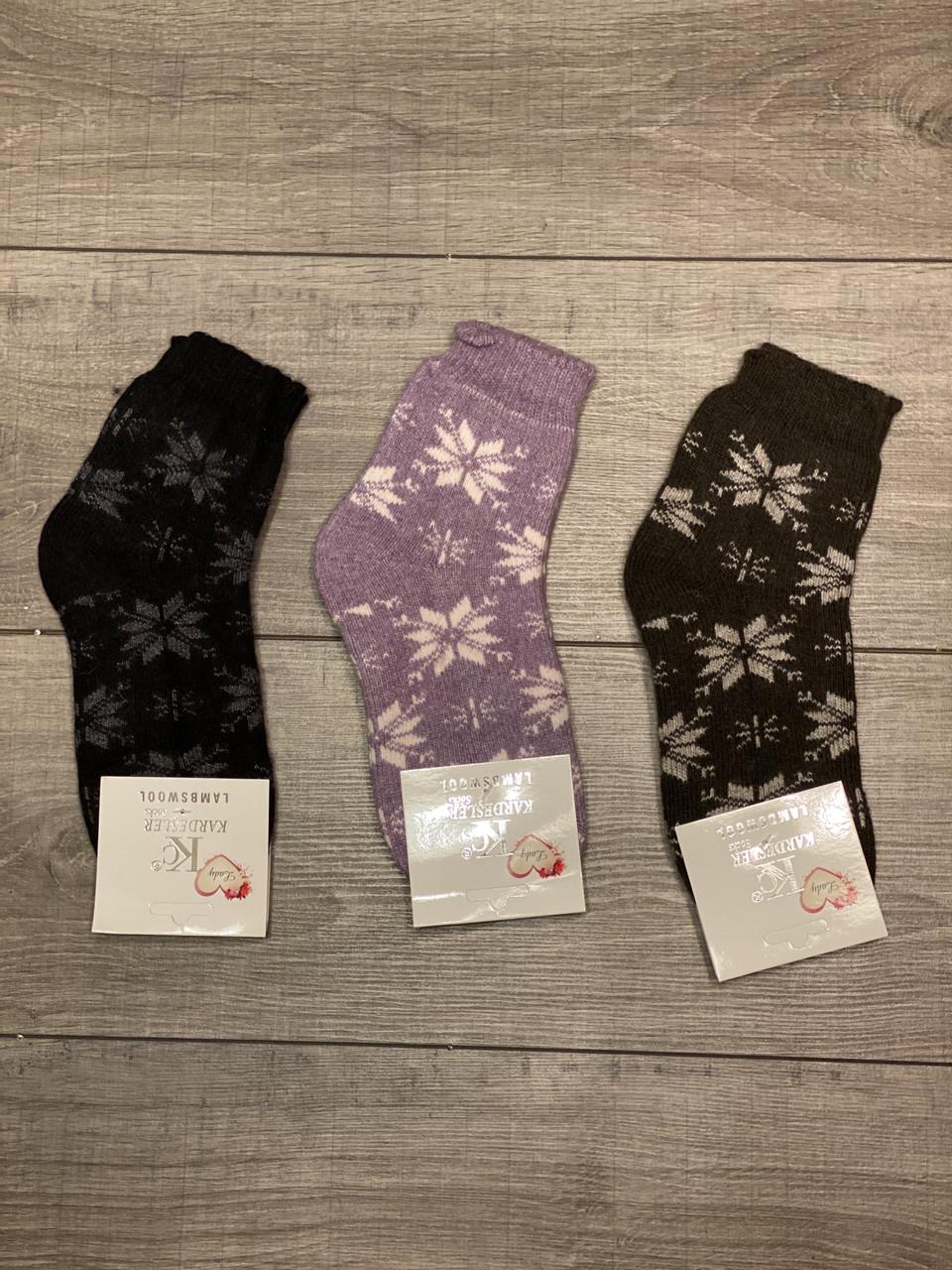 Жіночі носки шкарпетки теплі Kardesle середні з вовни та махрою квітковий принт 37-41 мікс