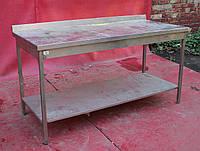 Стол для кухни с полкой из нержавеющей стали 160х70х85 см., (Украина), Б/у, фото 1