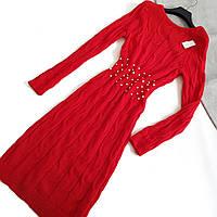 Платье красное с бусинками на поясе