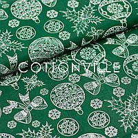 Бавовняна тканина Ялинкові іграшки на зеленому