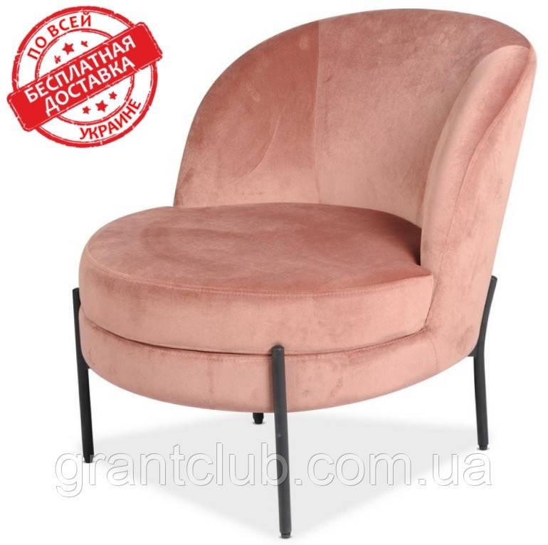 М'яке крісло Белла Роза рожевий велюр Vetro Mebel (безкоштовна доставка)