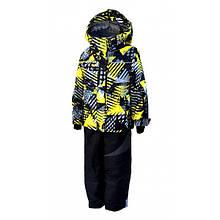 Комбинезон зимний раздельный для мальчика (черный с желтым принтом) (размеры от 80 до 170)  Код 0643