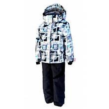 Комбинезон зимний раздельный для мальчика (светло-серый с принтом) (размеры от 80 до 170)  Код 1501