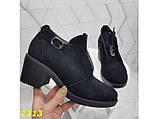 Ботильоны туфли на низком широком каблуке замшевые 38, 39, 40 р. (2313), фото 5